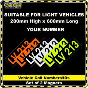 Hi Vis Light Vehicle Call Number/ID Class 1 (Set of 2 Magnets)