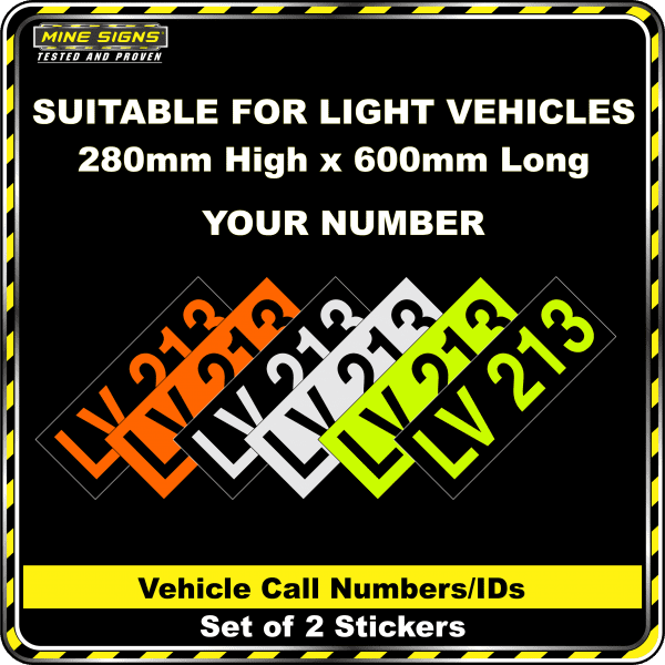 Hi Vis Light Vehicle Call Number/ID Class 1 (Set of 2 Stickers)