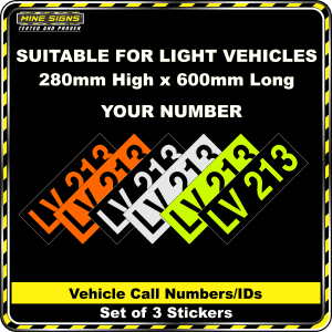 Hi Vis Light Vehicle Call Number/ID Class 1 (Set of 3 Stickers)