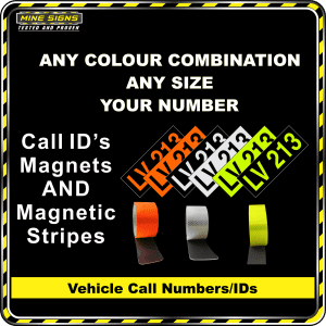 Hi Vis Light Vehicle Call Number/ID Class 1 (Set of Magnetic IDs & Reflective Stripes)