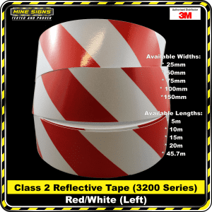 3m red/white class 2 3200 series reflective tape left