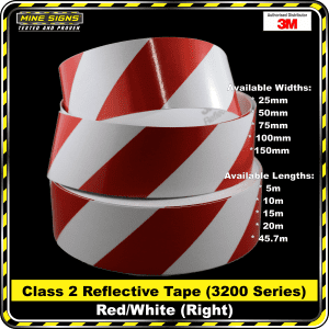 3m red/white class 2 3200 series reflective tape right