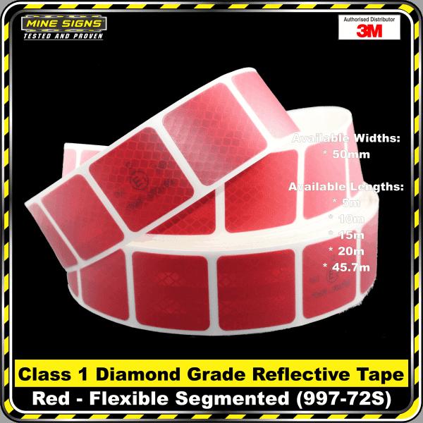 3M Red (997-72S) Diamond Grade Class 1 Flexible Reflective Tape Segmented