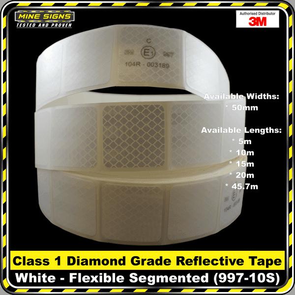 3M White (997-10S) Diamond Grade Class 1 Flexible Reflective Tape Segmented