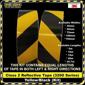 3m yellow/black class 2 3200 series reflective tape kit