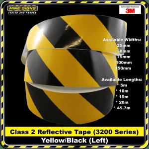 3m yellow/black class 2 3200 series reflective tape left