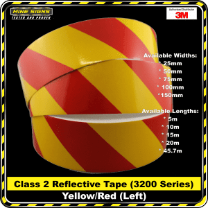 3m yellow/red class 2 3200 series reflective tape left
