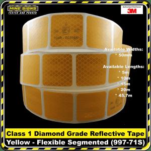 3M Yellow (997-71S) Diamond Grade Class 1 Flexible Reflective Tape Segmented
