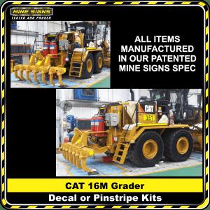 Mine Signs Spec Kit - Cat 16M Grader decal pinstripe
