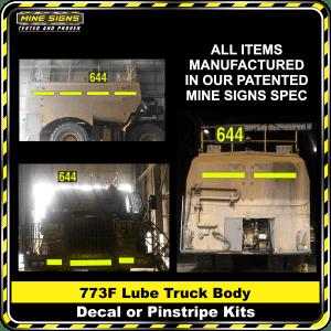 Mine Signs Spec Kit - Cat 773F Lube Truck Body decal pinstripe