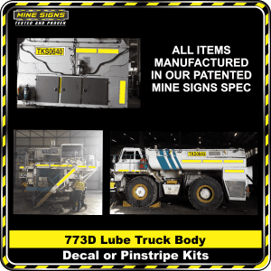 Mine Signs Spec Kit - Cat 773D Lube Truck Body decal pinstripe