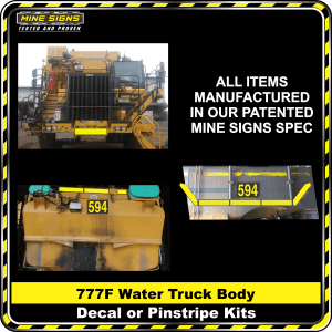 Mine Signs Spec Kit - Cat 777F Water Truck Body decal pinstripe