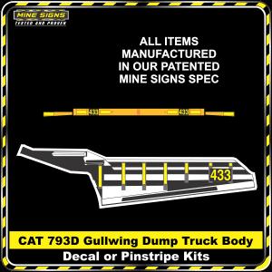 Mine Signs Spec Kit - Cat 793D Gullwing Body decal pinstripe