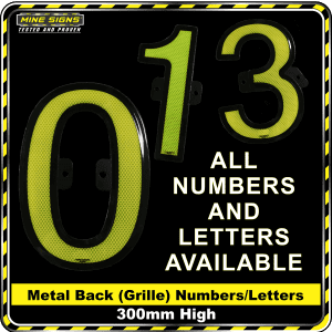 Mine Signs Spec Metal Back (Grille) Numbers 300mm