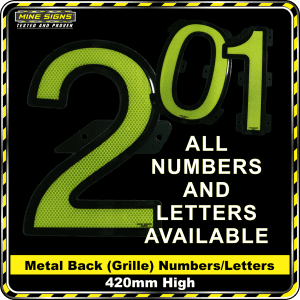 : Mine Signs Spec Metal Back (Grille) Numbers 420mm