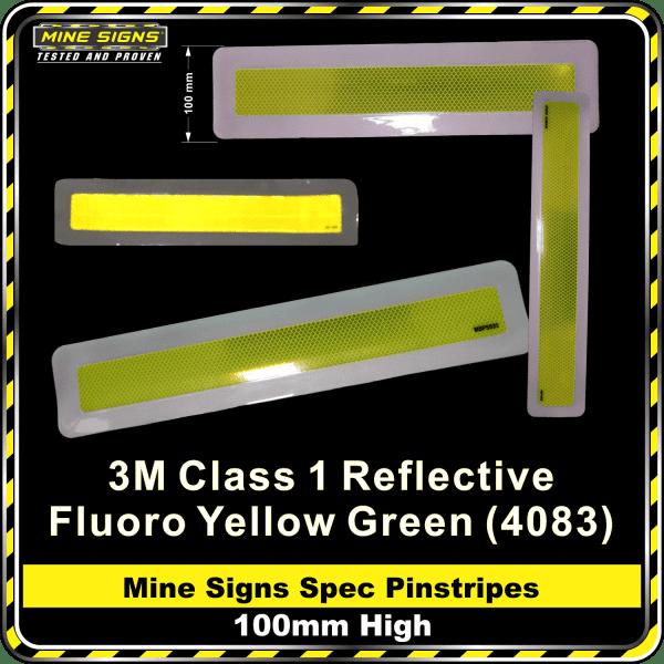 Mine Signs Spec Pinstripe 100mm High fyg fluoro yellow green