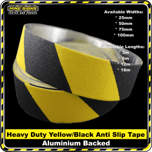 Heavy Duty (Industrial Grade) Yellow/Black Anti Slip Grip Tape Aluminium Backing