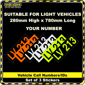 Hi Vis Light Vehicle Call Number/ID Class 1 (Set of 3 Stickers) 280mm x 780mm
