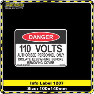 110 Volts Authorised Personnel Only Isolate Elsewhere Before Removing Cover