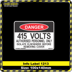 415 Volts Authorised Personnel Only Isolate Elsewhere Before Removing Cover